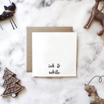 Berries & pine wreath 'Jingle Bells' Christmas cards | ink & white