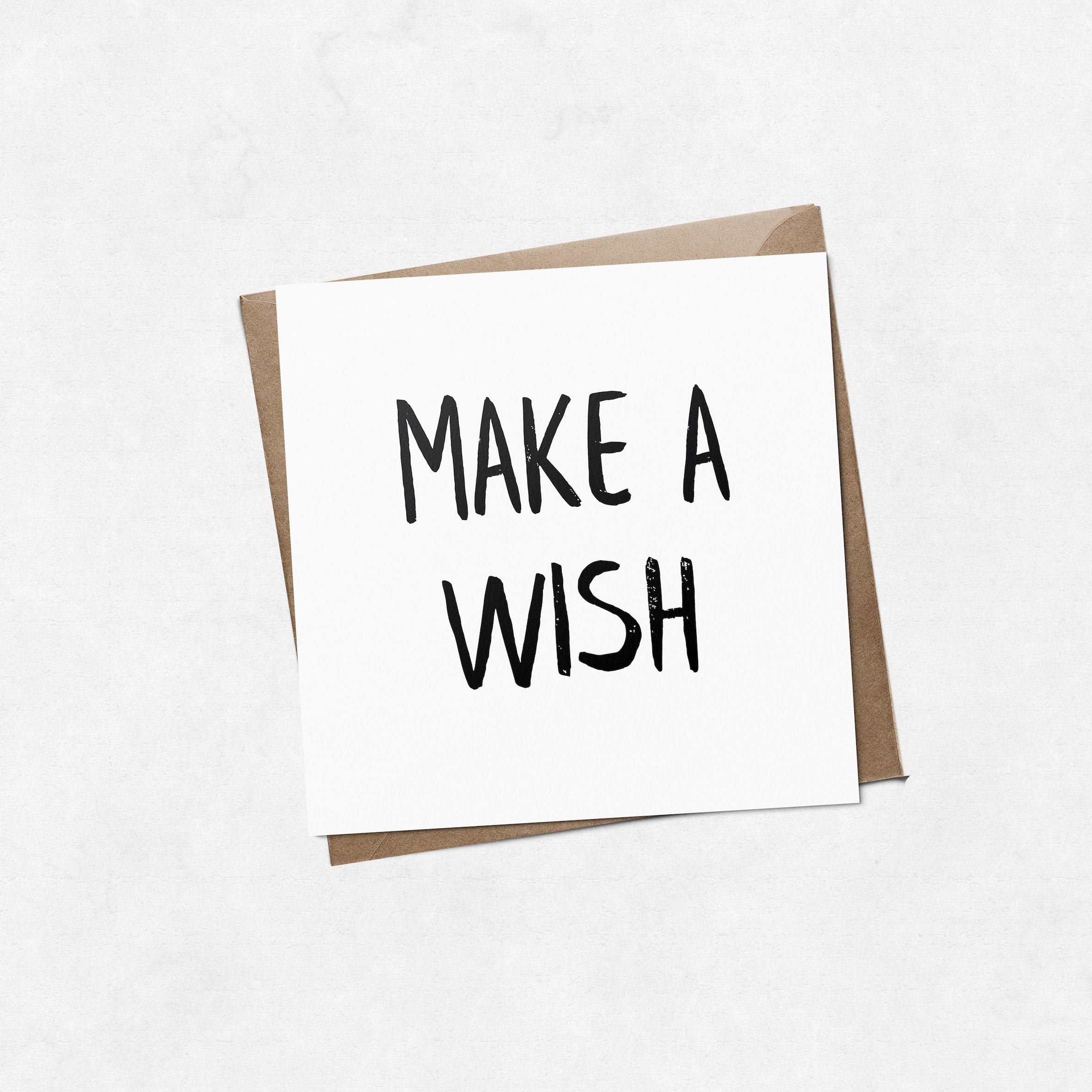 'Make a wish' brush letter square greeting card | ink & white