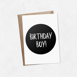 'Birthday boy' on black brush letter A6 greeting card | ink & white