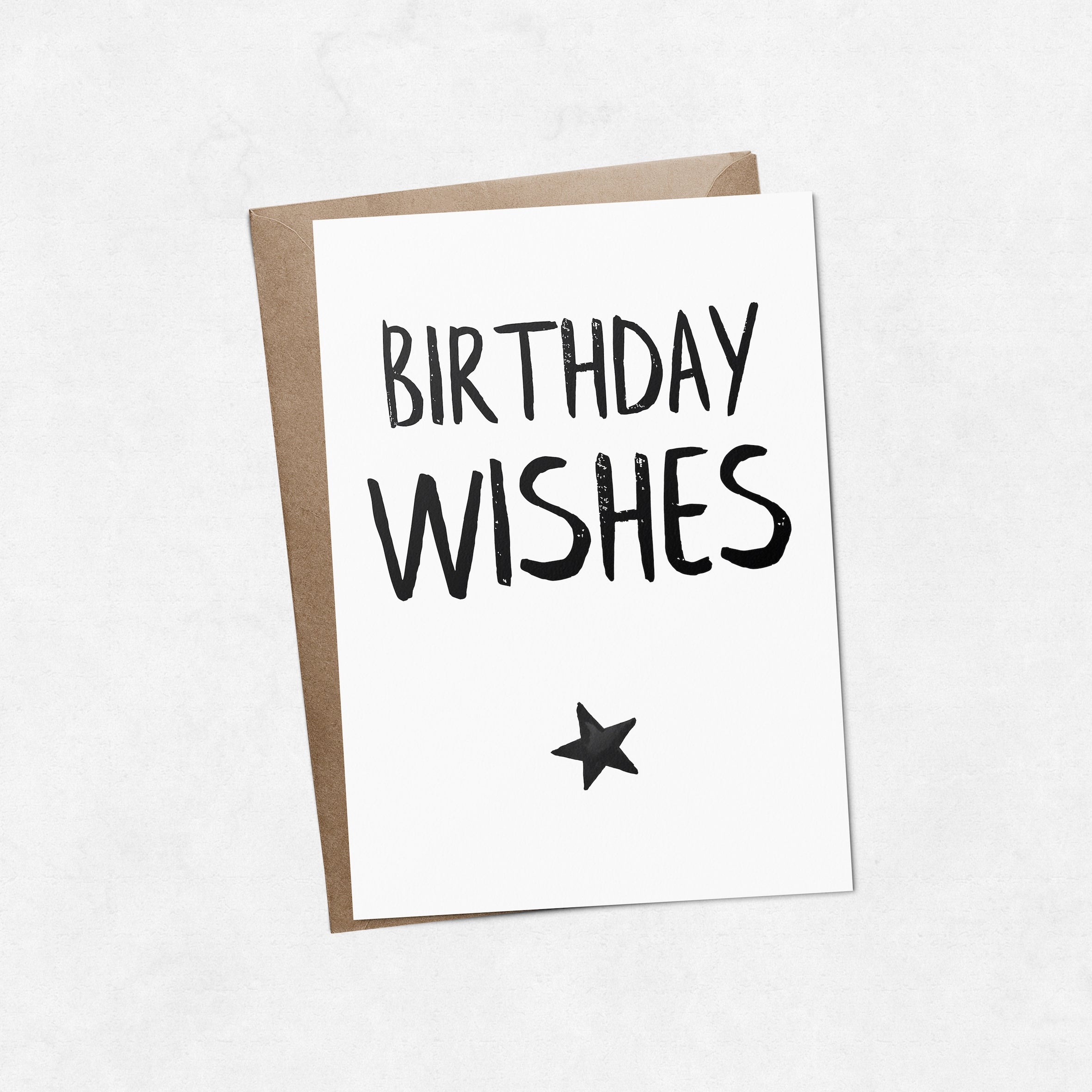 'Birthday wishes' with star brush letter A6 greeting card | ink & white