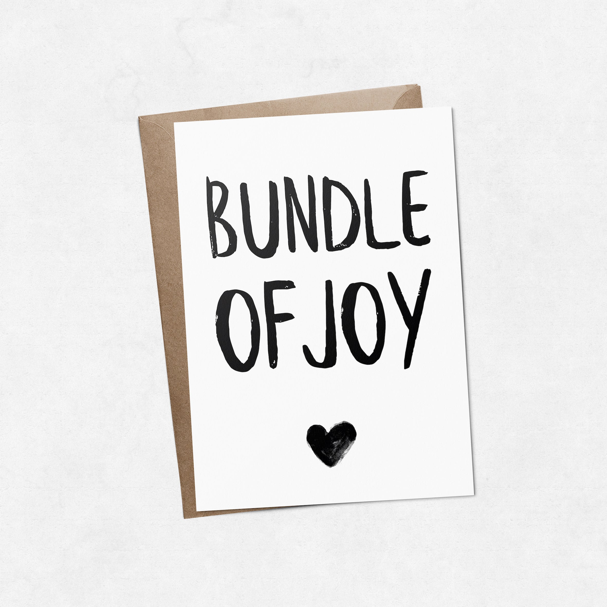 'Bundle of joy' with heart brush letter A6 greeting card | ink & white