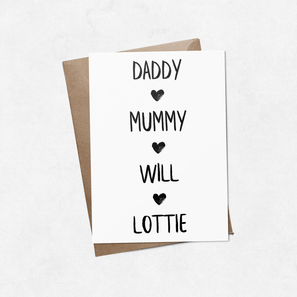 Personalised 'Family names' brush letter A6 greeting card | ink & white