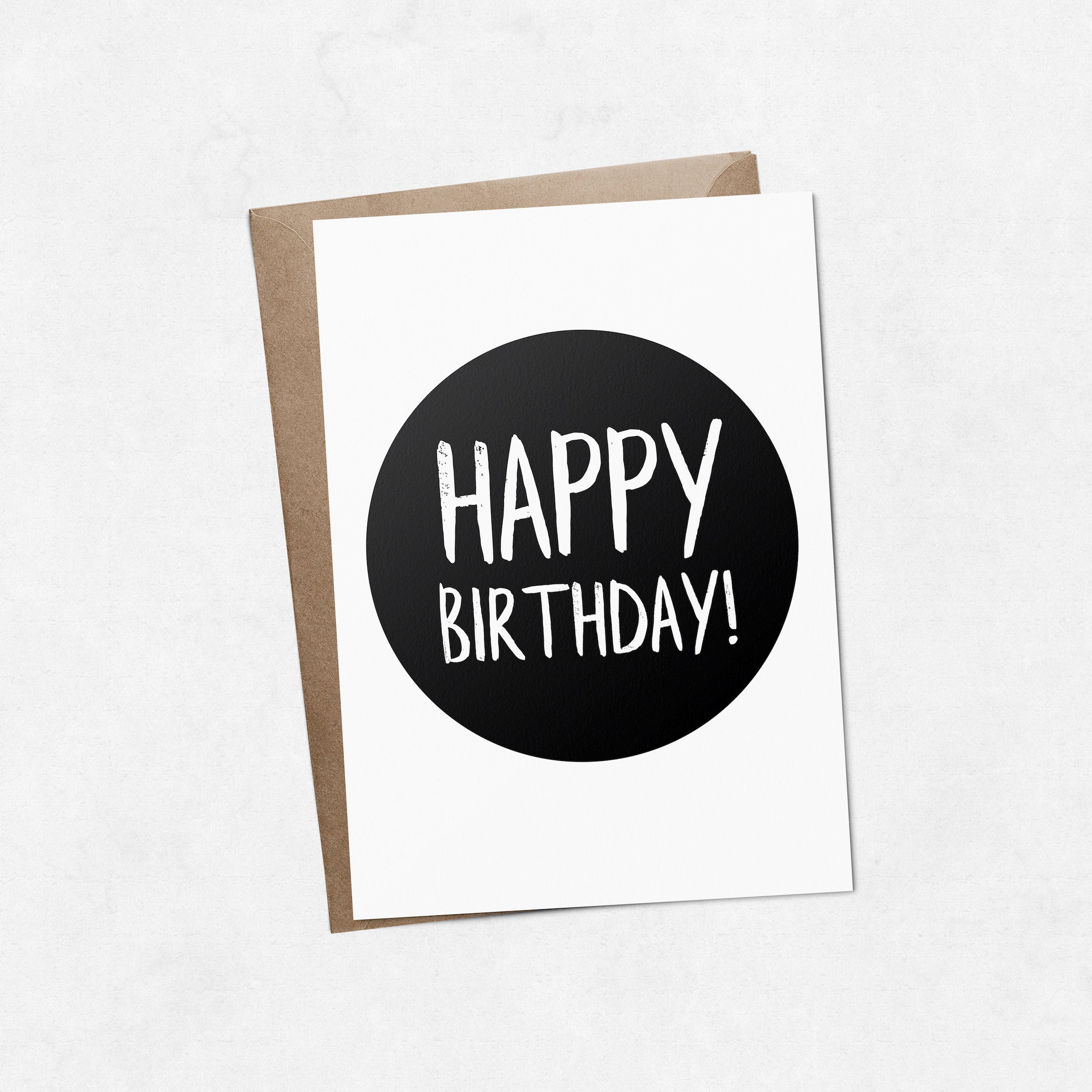 'Happy birthday' on black brush letter A6 greeting card | ink & white