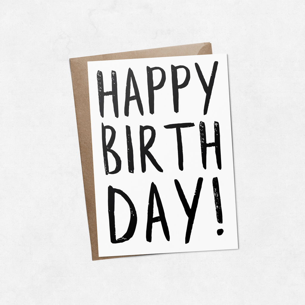 'Happy birthday' brush letter A6 greeting card | ink & white
