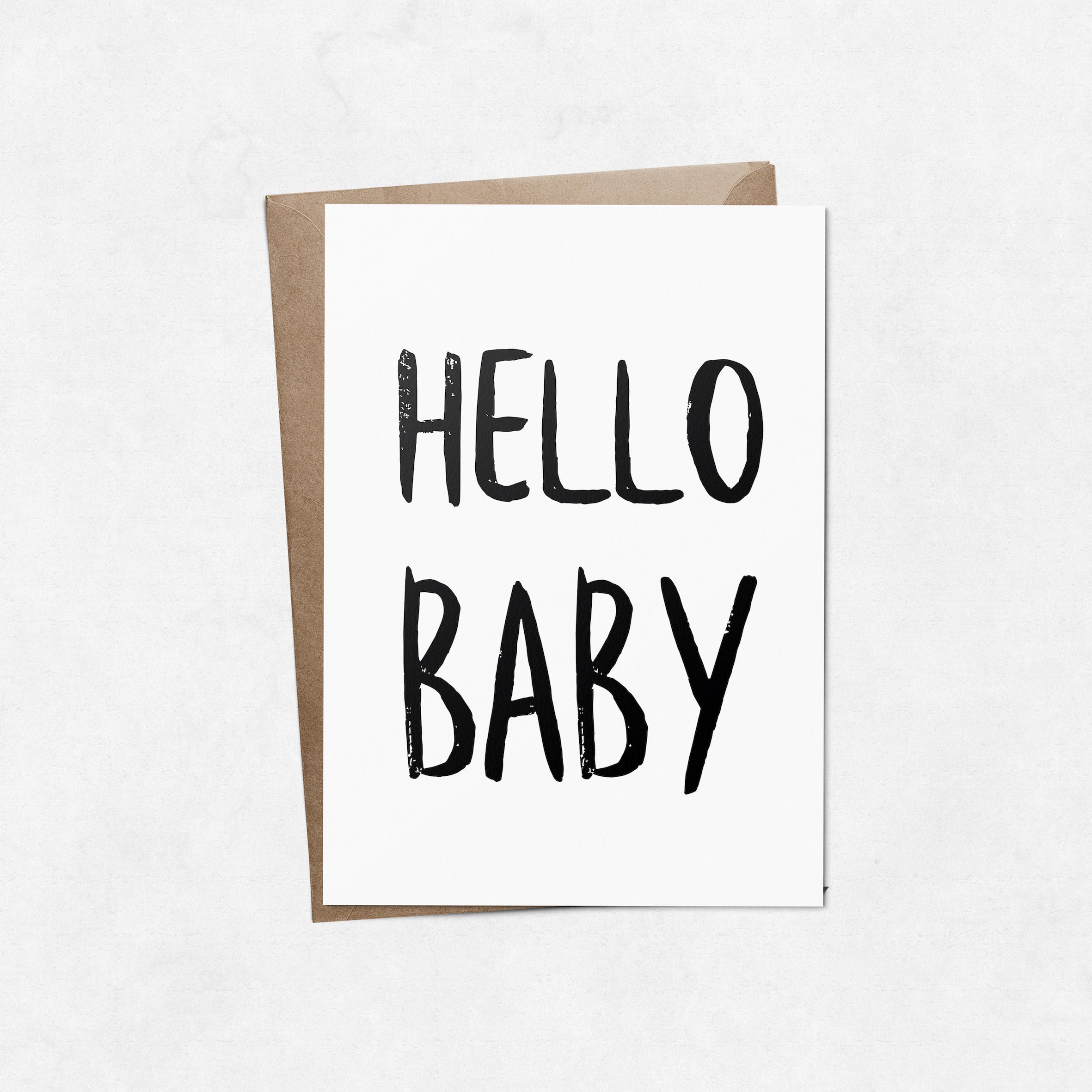 'Hello Baby' brush letter A6 greeting card | ink & white