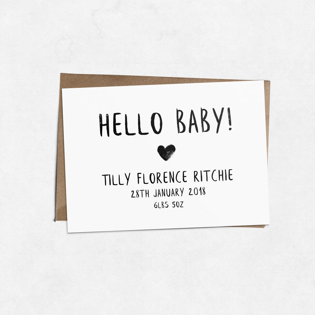 Personalised baby birth announcement brush letter A6 greeting card | ink & white