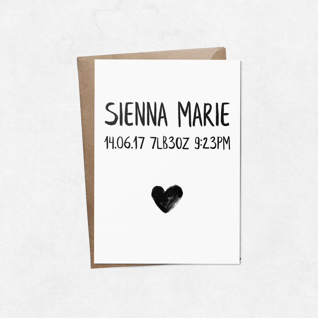 Personalised baby birth announcement with heart brush letter A6 greeting card | ink & white