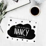 Personalised 'Welcome to the world' in cloud with stars brush letter A6 greeting card | ink & white