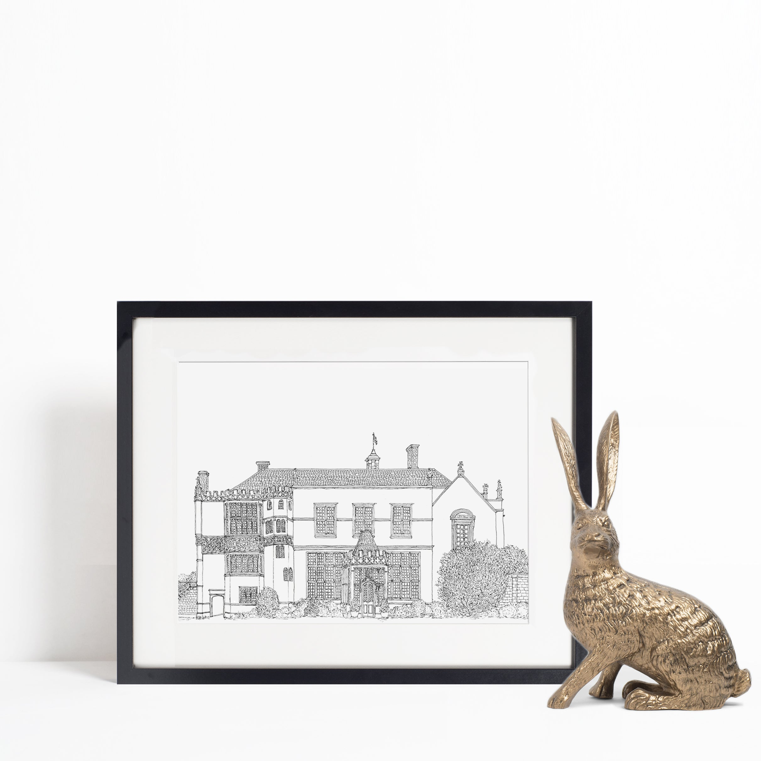 Brympton D'Evercy House, Yeovil, Somerset illustration | ink & white
