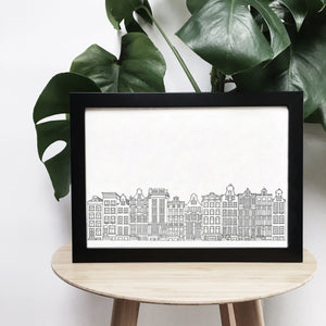 Canal houses, Amsterdam illustration | ink & white