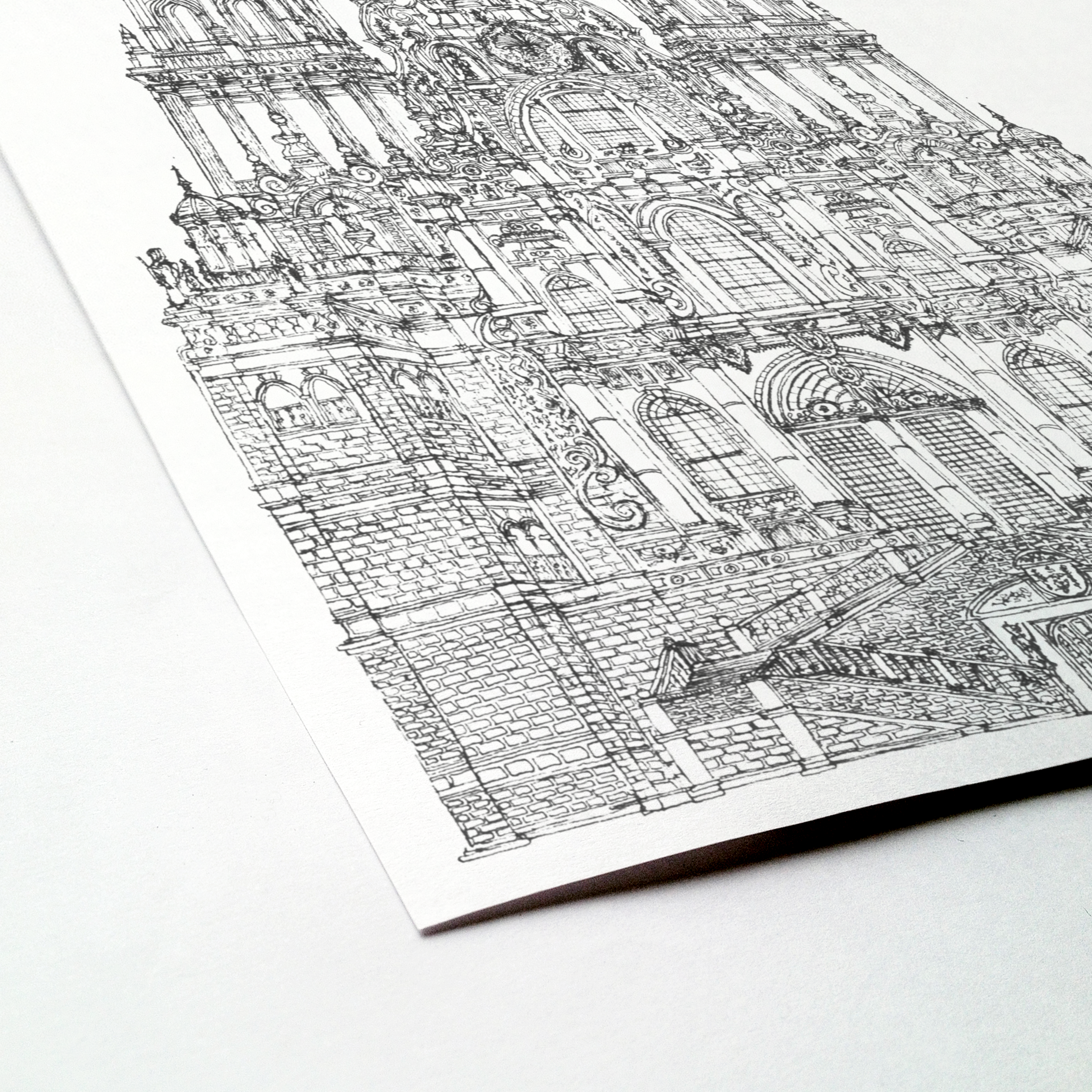 Cathedral, Santiago de Compostela, Spain illustration | ink & white