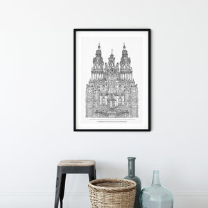 Cathedral, Santiago de Compostela with title illustration | ink & white