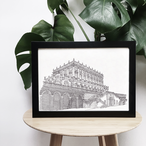 Cliveden House, Buckinghamshire, England illustration | ink & white