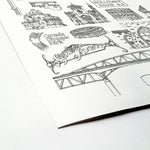 Custom monochrome location and landmark illustration | ink & white