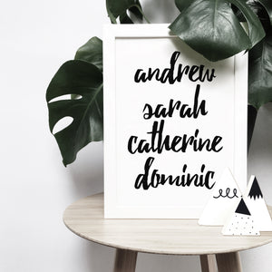 Personalised script family names brush letter monochrome print | ink & white