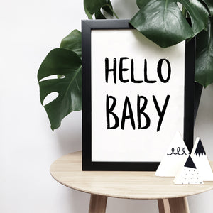 'Hello baby' monochrome print | ink & white