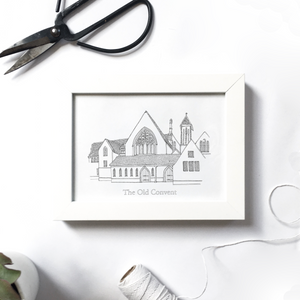 Monochrome custom house illustration | ink & white
