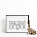 Ibrox Stadium, Glasgow, Scotland illustration | ink & white