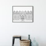 Ibrox Stadium with title, Glasgow, Scotland illustration | ink & white