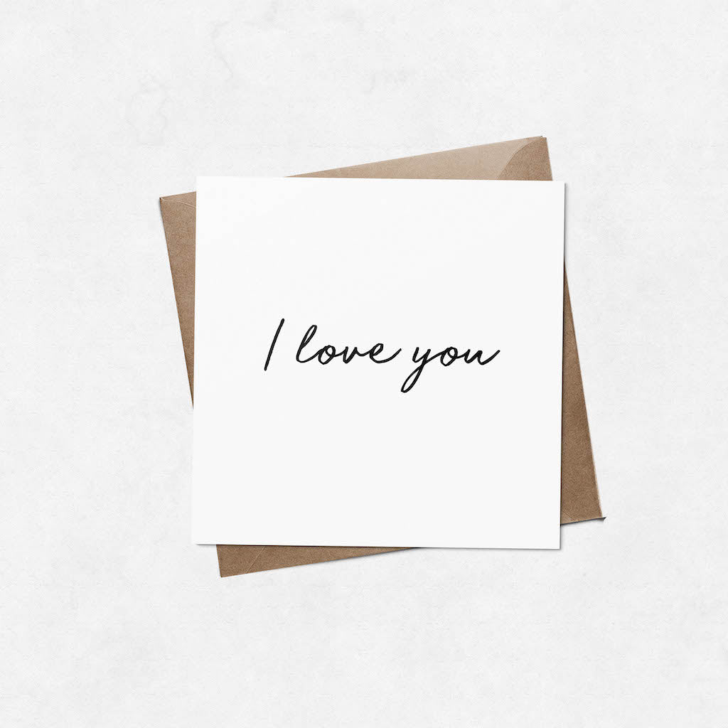 'I love you' brush letter square Valentine's Day card | ink & white