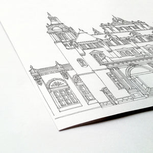 Kelvingrove Art Gallery and Museum, Glasgow, Scotland illustration | ink & white