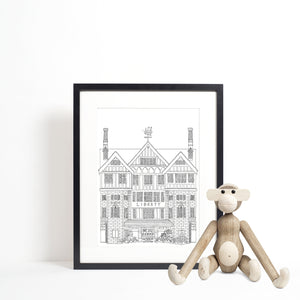 Liberty, London illustration | ink & white