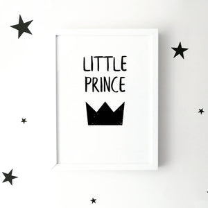 'Little prince' with crown monochrome print | ink & white