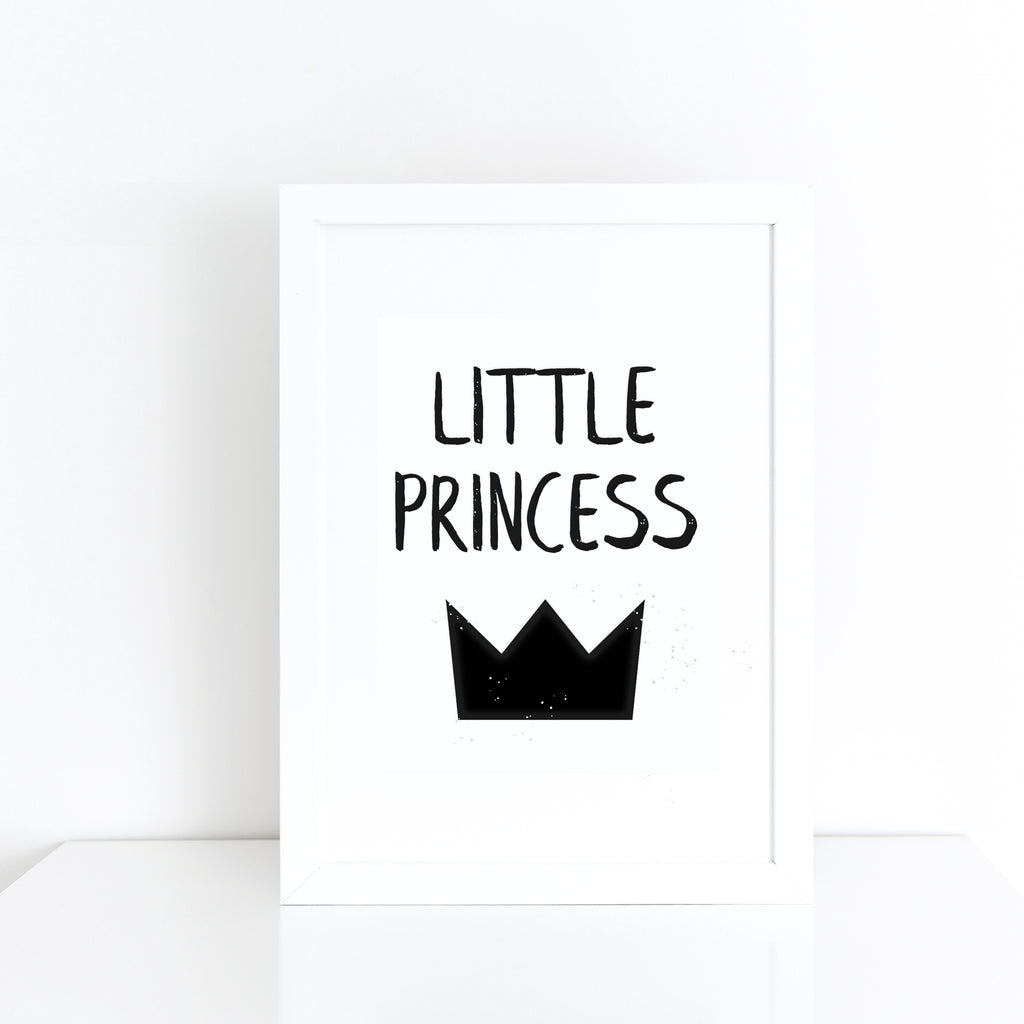 'Little princess' with crown monochrome print | ink & white