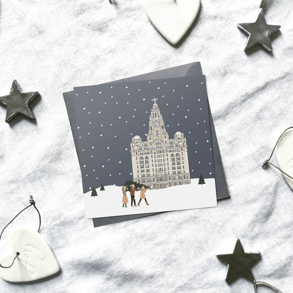 Liverpool 'Britain in the snow' Christmas cards | ink & white