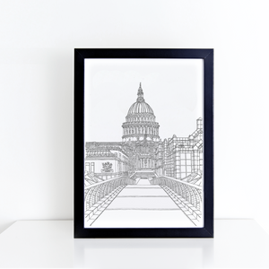 St Paul's Cathedral from Millennium Bridge, London, England illustration | ink & white