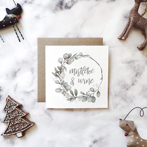 Eucalyptus & mistletoe wreath 'Mistletoe & wine' Christmas cards | ink & white