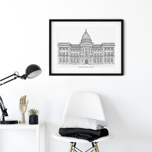 Mitchell Library with title, Glasgow illustration | ink & white