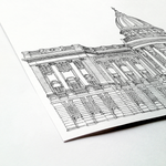 Mitchell Library, Glasgow, Scotland illustration | ink & white
