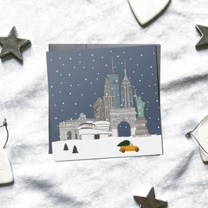 New York 'Snow around the globe' Christmas cards