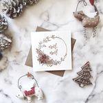 Assorted 'Wreath design' Christmas cards | ink & white