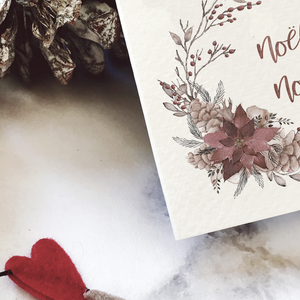 Poinsettia & pine cones wreath 'Noël, Noël' Christmas cards | ink & white