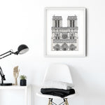 Notre-Dame Cathedral, Paris illustration | ink & white