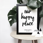 Personalised 'Our happy place' monochrome print | ink & white