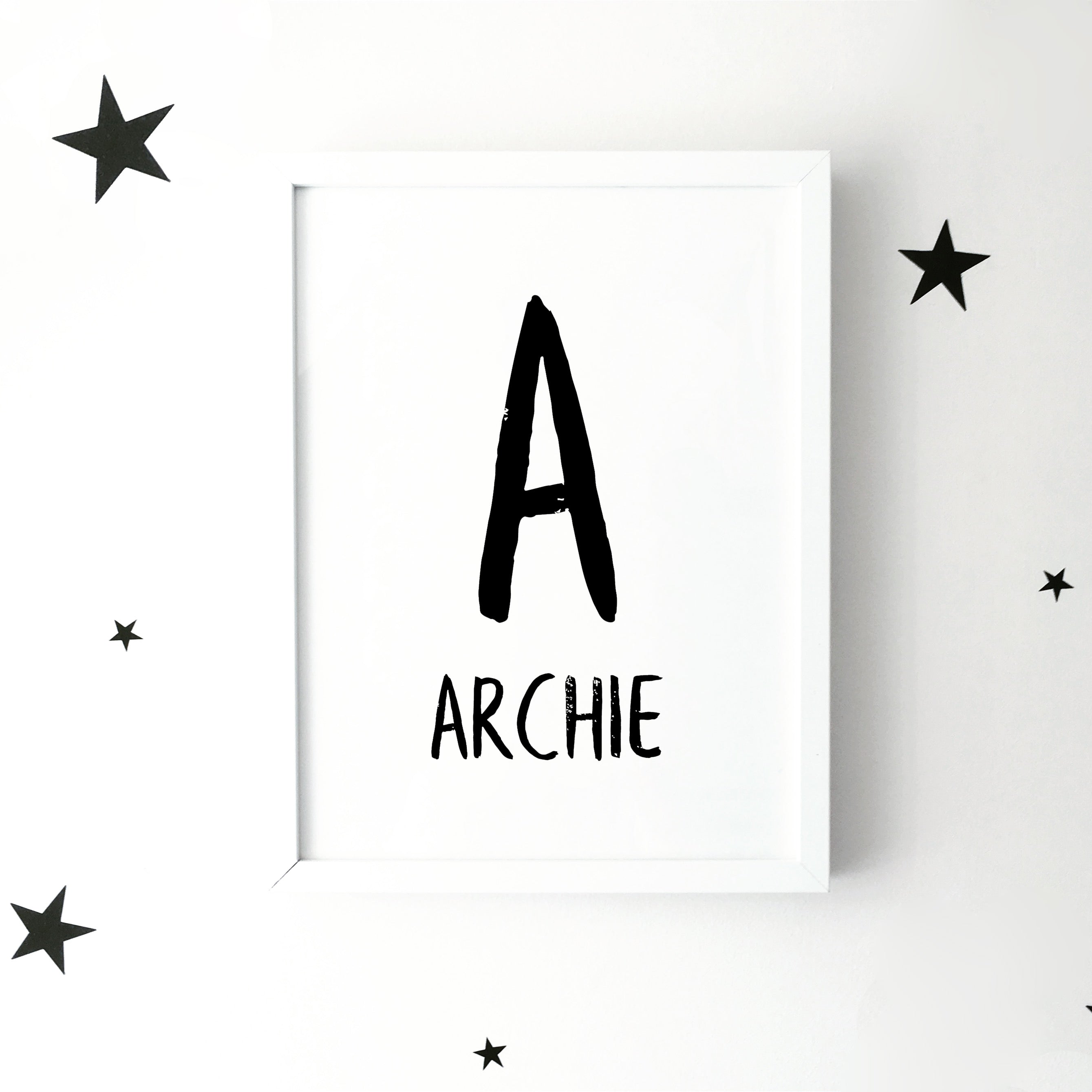 Personalised initial & name brush letter monochrome print | ink & white