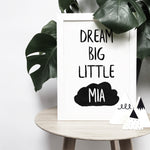 Personalised 'Dream big little one' with cloud monochrome print | ink & white