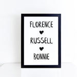 Personalised family names brush letter monochrome print | ink & white