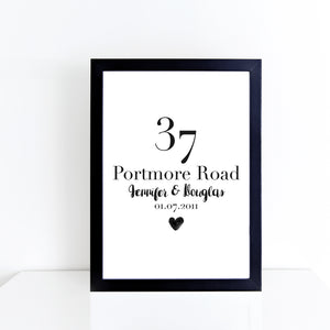 Personalised home & family details monochrome print | ink & white