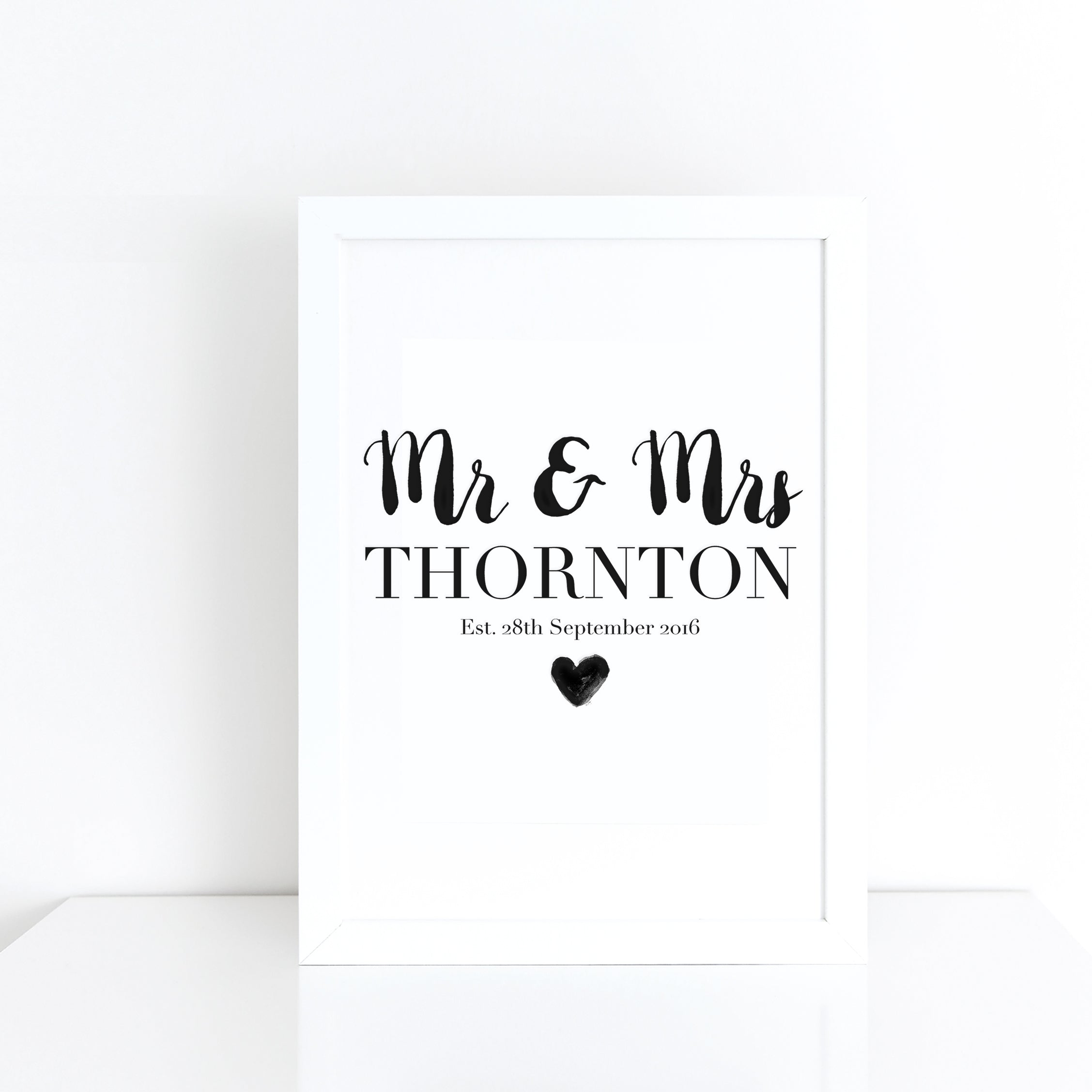 Personalised Mr & Mrs wedding details monochrome print | ink & white