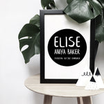 Personalised brush letter birth announcement on black print | ink & white