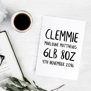 Personalised brush letter birth announcement print | ink & white