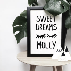 Personalised 'Sweet dreams' sleepy eyelashes monochrome print | ink & white