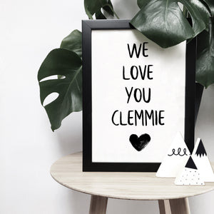 Personalised 'We love you' with heart monochrome print | ink & white