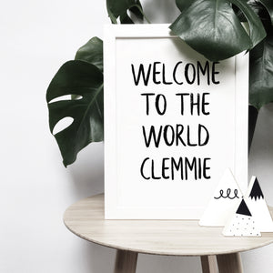 Personalised 'Welcome to the world' brush letter monochrome print | ink & white