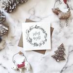 Pine foliage wreath 'Silent night' Christmas cards | ink & white