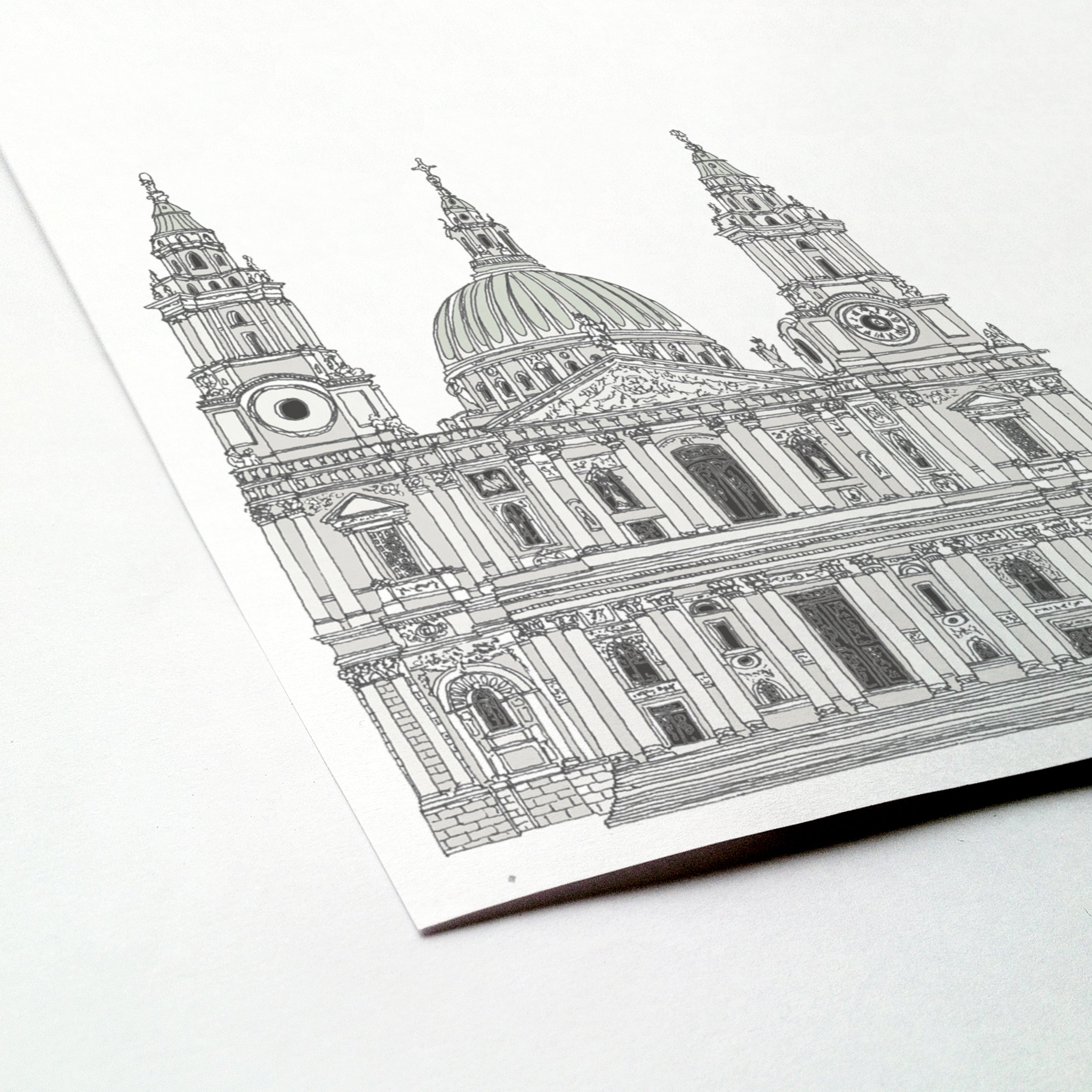 St Paul's Cathedral, London illustration | ink & white
